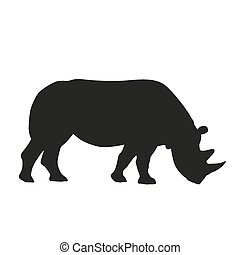 silueta, vector, rhinoceros.