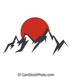 silueta, vector, roca, ilustración, sol, montaña