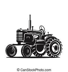 silueta, viejo, negro, fondo blanco, tractor