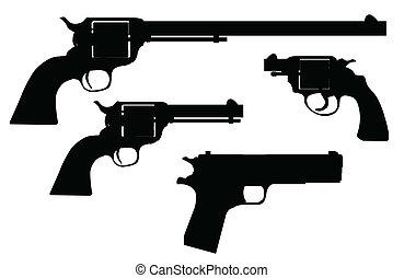 siluetas, arma de fuego, mano