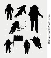 siluetas, astronauta