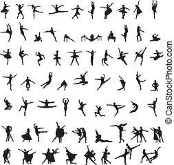 siluetas, bailarín, conjunto, ballet
