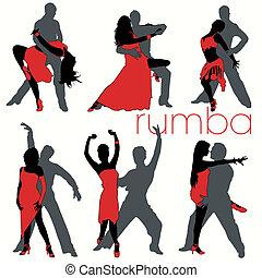 siluetas, bailarines, conjunto, rumba