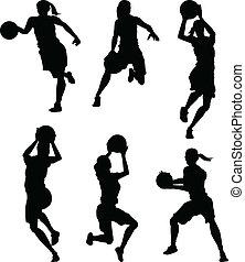 siluetas, baloncesto, hembra, mujeres