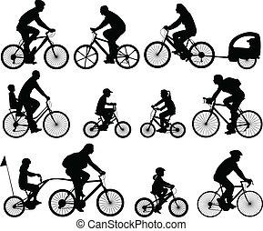 siluetas, bicyclists