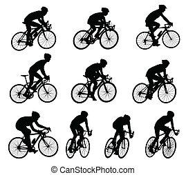 siluetas, carrera, bicyclists