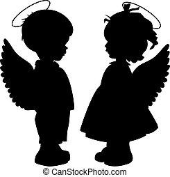 siluetas, conjunto, ángel