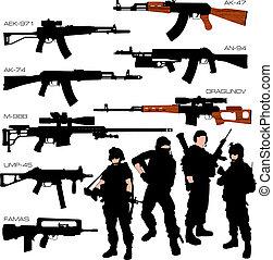 siluetas, conjunto, automático, armas