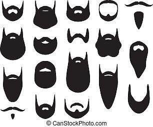 siluetas, conjunto, barba