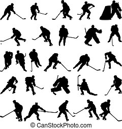 siluetas, conjunto, hockey