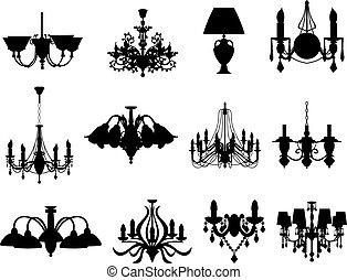 siluetas, conjunto, lámparas