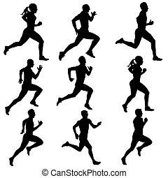 Siluetas corriendo. Ilustración de vectores.