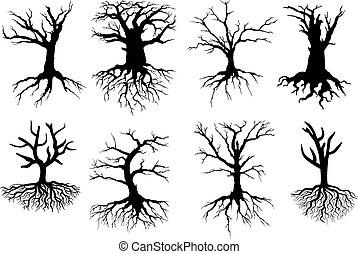 Siluetas de árboles con raíces