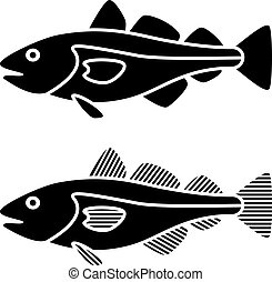 Siluetas de bacalao negro