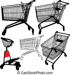 Siluetas de carrito de compras
