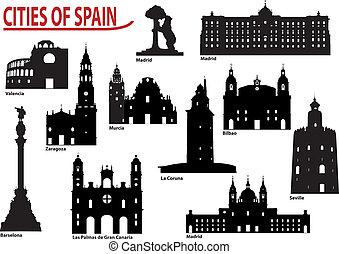 Siluetas de ciudades en España