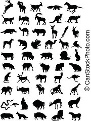 Siluetas de color negro animal. Una ilustración del vector