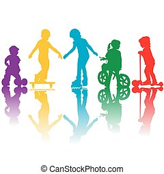 Siluetas de colores de niños activos