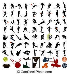 Siluetas de deportistas de color negro. Una ilustración del vector