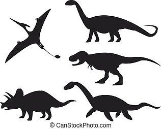 Siluetas de dinosaurios aisladas en el fondo blanco.
