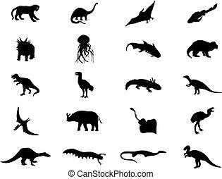 Siluetas de dinosaurios de color negro. Una ilustración del vector
