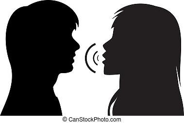 Siluetas de dos jóvenes hablando