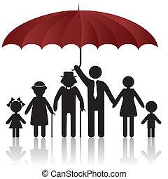 Siluetas de familia bajo el paraguas