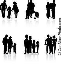 Siluetas de familia de color negro. Una ilustración del vector