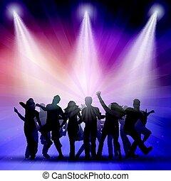 Siluetas de gente bailando