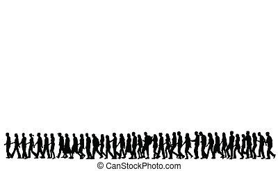 Siluetas de gente caminando