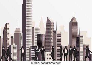Siluetas de gente de negocios con rascacielos en el fondo.