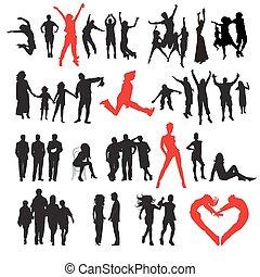 Siluetas de gente: negocios, familia, deporte, moda, amor