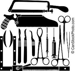 Siluetas de herramientas quirúrgicas