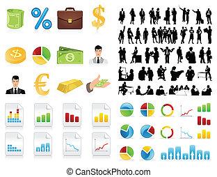 Siluetas de hombres de negocios y un icono. Una ilustración del vector