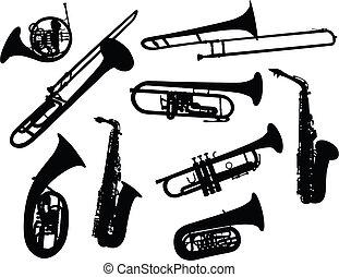 Siluetas de instrumentos de viento