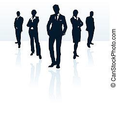 siluetas de la corporación mercantil, vector, portfolio., woman., hombre, mi, más