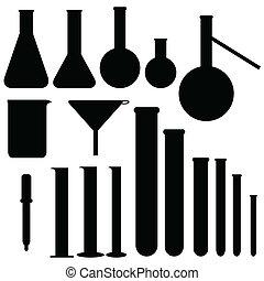 Siluetas de laboratorio, vector