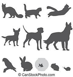 Siluetas de mascotas listas