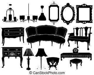 Siluetas de muebles antiguos