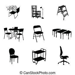 Siluetas de muebles marcan color negro