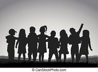 Siluetas de niños