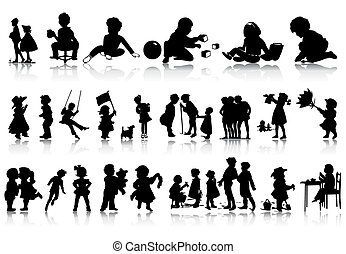 Siluetas de niños en varias situaciones. Una ilustración del vector