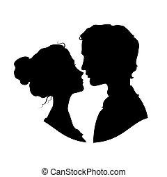 Siluetas de pareja amorosa