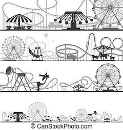 Siluetas de parque de diversiones horizontales. Ilustraciones de vectores de montañas rusas