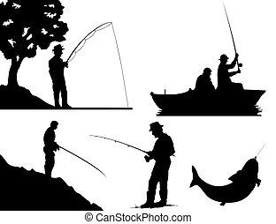 Siluetas de pescadores de color negro. Una ilustración del vector