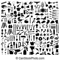 Siluetas de varios temas y herramientas. Una ilustración del vector