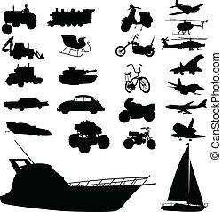 Siluetas de vector de transporte