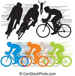 Siluetas de vectores ciclistas