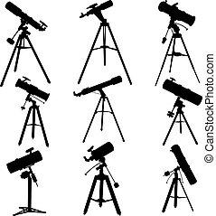Siluetas de vectores de telescopios.