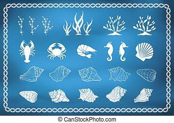 Siluetas de vida marina